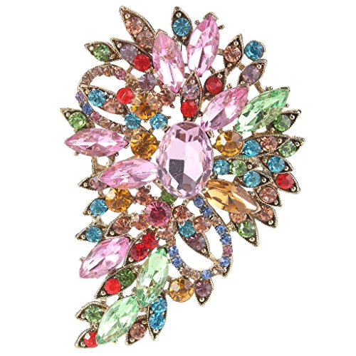 EVER FAITH Women's Austrian Crystal Vintage Inspired Flower Leaf Bouquet Brooch Multicolor Gold-Tone