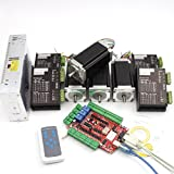 4 Axis CNC Kit Nema23 112mm Stepper Motor Dual Shaft 425oz-in 3A & 40V 4A FMD2740C Driver & 400W 36V Power Supply & USBCNC Breakut Board Controller Kit For CNC Router Engraving Milling Machine