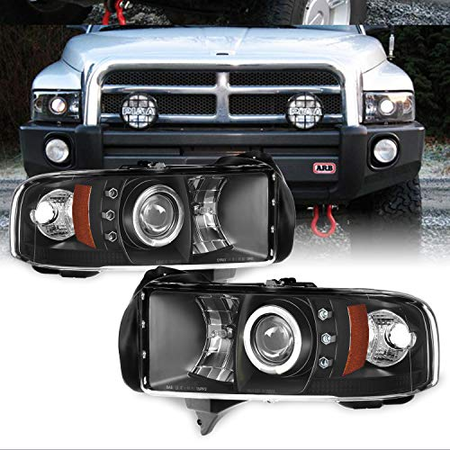 For Dodge Ram 1500/2500/3500 Pickup Black Dual Halo Ring LED Projector Replacement Headlights Left/Right (Dodge Ram 2500 Halos)