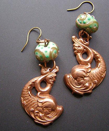 Victorian Dolphin Sea Creature Serpent Copper Green Lampwork Glass Bead - Lampwork Glass Dolphin
