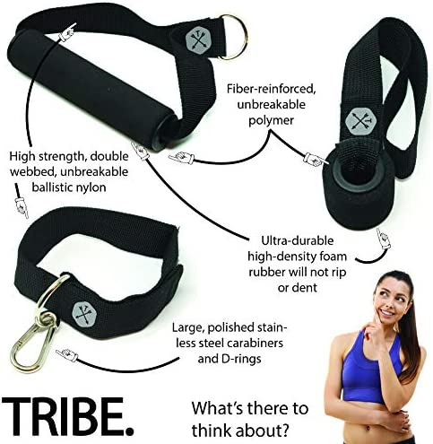 Tribe 11PC Premium Resistance Bands Set, Workout Bands - with Door Anchor, Handles and Ankle Straps - Stackable Up To 105 lbs - For Resistance Training, Physical Therapy, Home Workouts, Yoga, Pilates 5