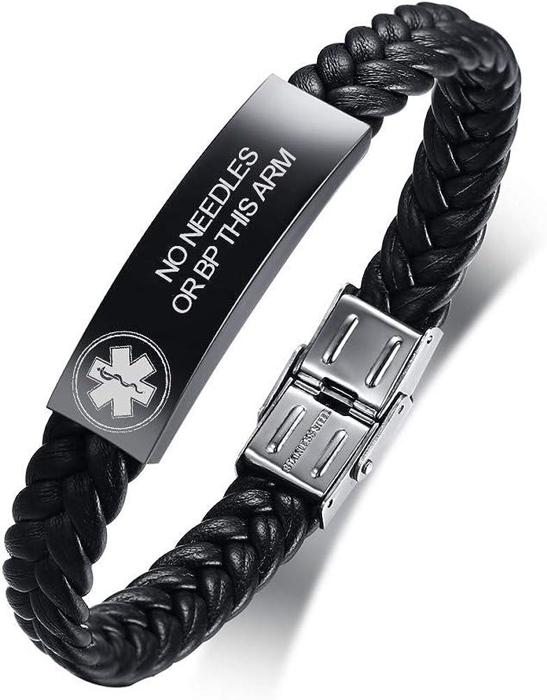 VNOX Personalized Customize Stainless Steel Leather Medical Alert Bracelet Star of Life Medical Leather Bracelet for Men Women,21.5cm,Adjustable