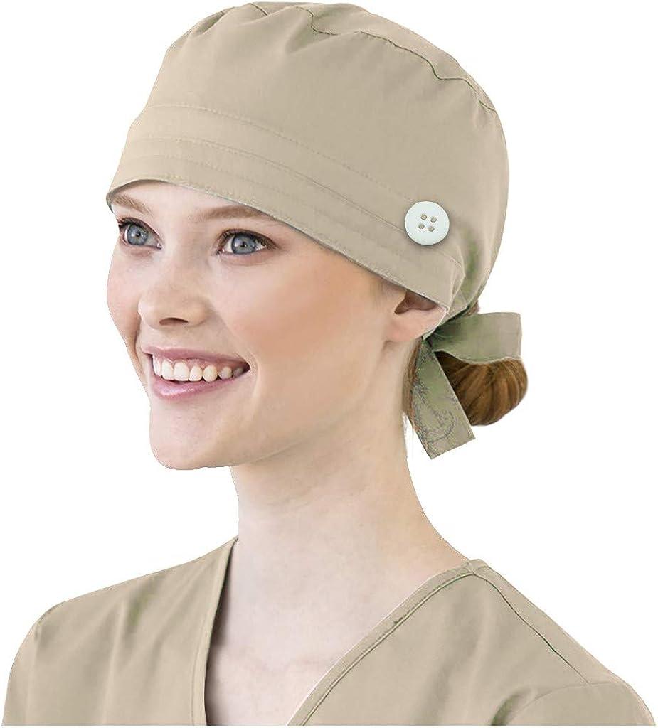Navy Mifelio Scrub Cap Adjustable Scrub Hats with Cotton Sweatband for Women Men