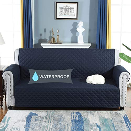 YESHOME Sofa Cover Slipcovers-Quilted Upgrade Anti-Slip Couch Covers-Waterproof Sofa Protector with Elastic Strap-Furniture Cover for Dogs and Cats Pet (Sofa, Navy) (Leather Furniture Navy)