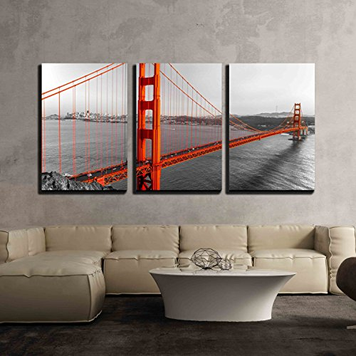 wall26 - 3 Piece Canvas Wall Art - Golden Gate in San Francisco, California, Usa. - Modern Home Decor Stretched and Framed Ready to Hang - 24