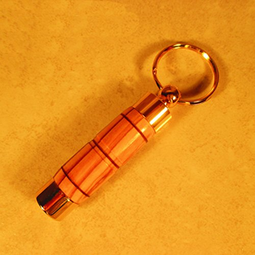LDS Oil Vial Key Ring - Olive Wood from The Holy Land - for Priesthood - Gold Executive Style