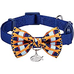 """Blueberry Pet 18 Designs Timeless Navy Blue Breakaway Adjustable Chic Fish Print Handmade Bow Tie Cat Collar with European Crystal Bead on Fish Charm, Neck 9""""-13"""", Bow 2.4"""" 2"""""""