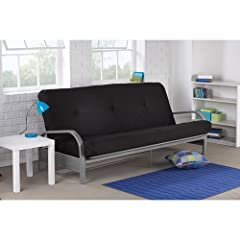 The Mainstays Black Metal Arm Futon Frame with six-inch Mattress offers the best of both worlds; it has a stylish, contemporary design and brings functionality to any room in your home. This metal futon comes with retainer clips to prevent th...