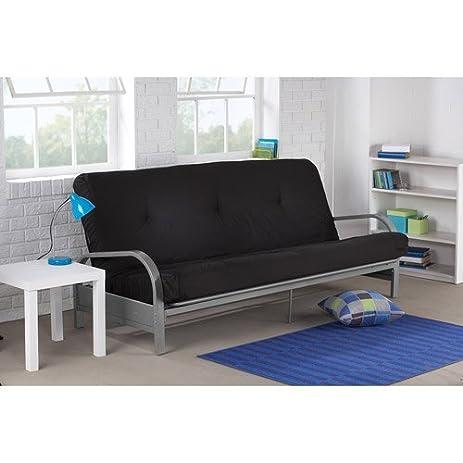 mainstays metal arm futon with mattress black amazon    mainstays metal arm futon with mattress black  kitchen      rh   amazon