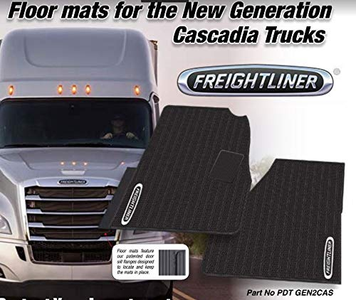 Freightliner Cascadia Rubber All-Weather OEM Floor Mats W/Logo fits  2018-2019 -2 Pc Fronts