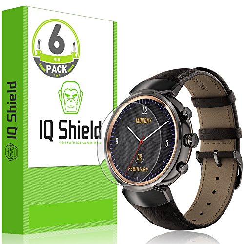 [6-Pack] IQ Shield LiQuidSkin Full Coverage Clear Screen Protector for Asus ZenWatch 3 HD Anti-Bubble TPU Film