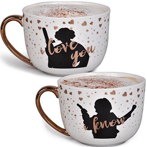 Star Wars Princess Leia and Han Solo Coffee Mug Set - I Love You, I Know - Star Wars Pinache - 20 oz