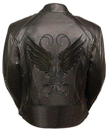 Motorcycle women's biker blk Wing detailing and studed leather Gun pocket jacket ( S Regular) - Gun Motorcycle Boots