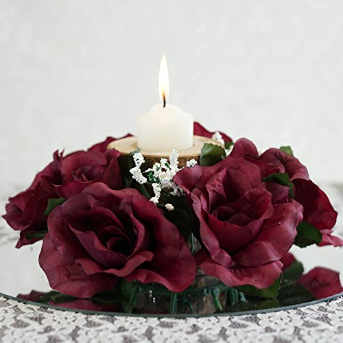 Balsacircle pcs silk roses flowers candle rings wedding