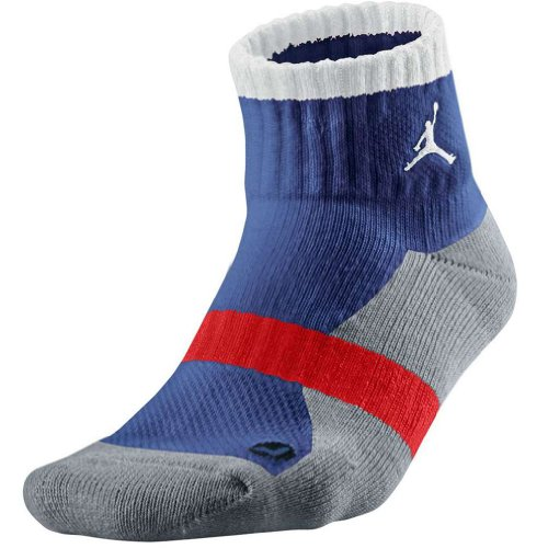 Jordan Men's Air Dri FIT Tipped Low Quarter Socks Medium Blue/Dark Grey by Jordan