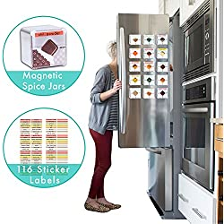 Sereniti Homes Large Magnetic Spice Tin Jar Containers for Refrigerator or Kitchen Rack Organizer - Comes with 116 FREE Color Sticker Labels (10, Silver)