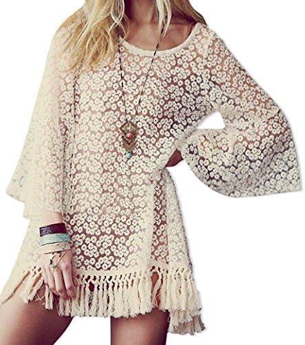 Imixcity Mujeres Camisa de Encaje Hippie Blusa Floral Crochet Tops Lace Shirt Fringe Festival Tassel Mini Vestido Camiseta: Amazon.es: Ropa y accesorios