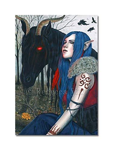 Gothic Fantasy Art Horse Pooka Blue Haired Elf Print