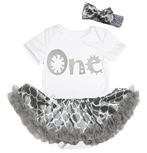 Petitebella Cartoon One White Bodysuit Gray Quatrefoil Clover Romper Tutu Nb-18m (0-3 (Gray Quatrefoil Clover)