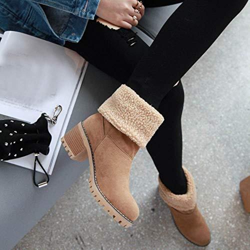 Otoño Altas Plano Zapatos Ante Largo Botines Color De Alto Casual returom Mujer Casuales Largas Marrón Martin Mujer Botas Pierna Alta Sólido Invierno Negro Plana zzR0qwAc