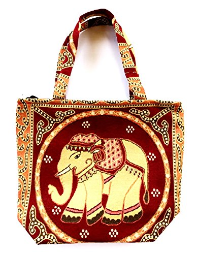 Bag by WP Embroidery Elephant Zipper Bag Handbag Tolebag Shopping Bag Handmade for (Dooney & Bourke Slim Wallet)