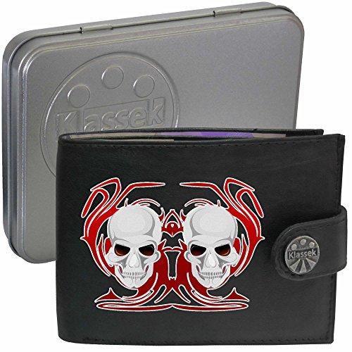Skull White Red Fire Schädel weiße Rote Flammen Klassek Herren Geldbörse Portemonnaie Brieftasche Voodoo aus echtem Leder schwarz Geschenk Präsent mit Metall Box zKL2qRO8m