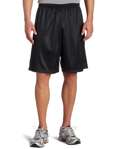 Soffe Men's Long Polyester Mini-Mesh Short Black Large (Mesh Soffe)