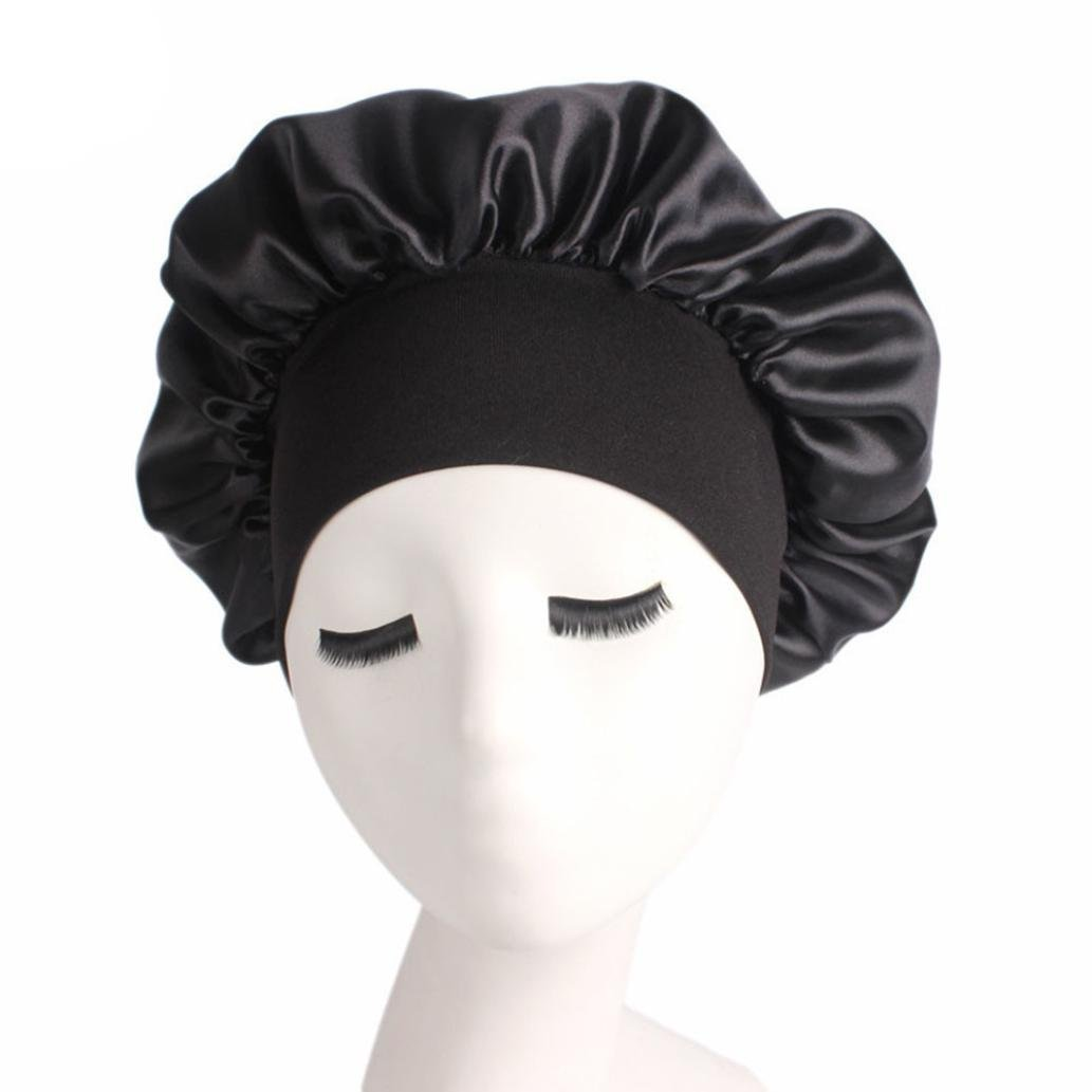 Women's Satin Solid Wide-Brimmed Hair Band Sleep Cap Chemotherapy Hat Hair Cap Black