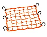 "Automotive : 15""x15"" PowerTye Mfg Cargo Net featuring 6 Adjustable Hooks & Tight 2""x2"" Mesh, Orange"