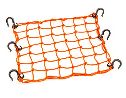 "15""x15"" PowerTye Mfg Cargo Net featuring 6 Adjustable Hooks & Tight 2""x2"" Mesh, Orange"