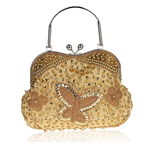 Satin Beading Butterfly Clutch Purse Evening Wedding Cocktail Party Handbags