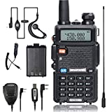BaoFeng Walkie Talkie UV-5R Dual Band Two Way Radio with one more 1800mAh UV5R Battery one Car Charge one Hand Mic. and one TIDRADIO NA-771 Antenna ham radio