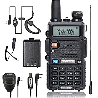BaoFeng Walkie Talkie UV-5R with one more 1800mAh UV5R Battery, Car Charger, Hand Mic., TIDRADIO NA-771 Antenna