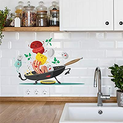 Mondfh Wall Sticker Kitchen Wall Stickers Happy Pan Wall Art Decal