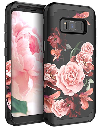 RabeMall Samsung Galaxy S8 Plus Case Unique Pretty Flowers for Girls/Women Anti-Fingerprint Three Layer High Impact Resistant Hybrid Shockproof Protective Cover,Floral Black