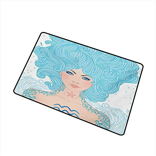 Wang Hai Chuan Zodiac Aquarius Welcome Door mat Woman with Ethnic Effects Tattoo Tribal Body Signs Symbolism Door mat is odorless and Durable W29.5 x L39.4 Inch,Pale Peach Aqua Coral]()