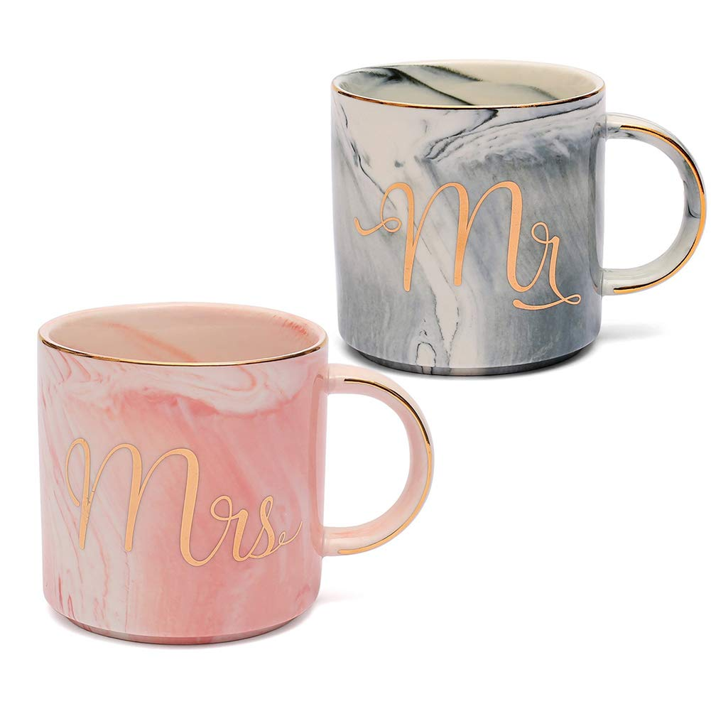 Mr and Mrs Couples Coffee Mugs Set Romantic Gift for Engagement Wedding Bridal Shower or Anniversary Present for Husband and Wife