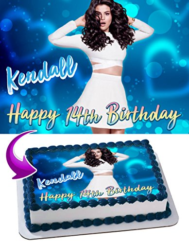 Selena Gomez Edible Image Cake Topper Personalized Birthday 1/4 Sheet Decoration Custom Sheet Party Birthday Sugar Frosting Transfer Fondant Image ~ Best Quality Edible Image for cake (Selena Gomez Best Images)