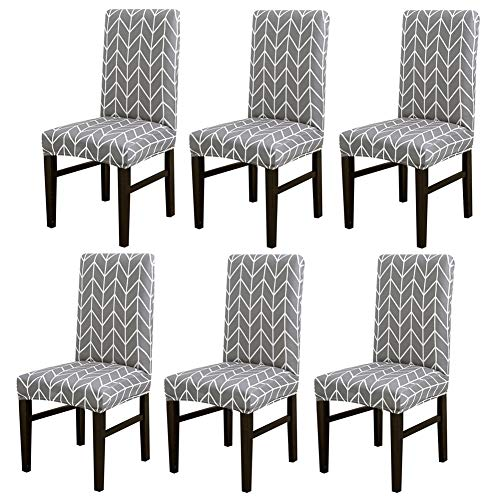 Grey Dining Room Chair Covers Stretch Removable Washable Chairs Protector Seat Cover for Bar Kitchen Banquet Party Wedding (6, BTC04)