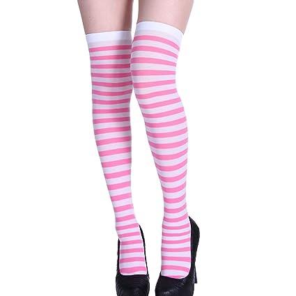b1c36d8d6f0 Pausseo Women Tights High Spcks Over Girls Winter Cotton Stripe Warmer Lady  Soft Cotton Socks Knee