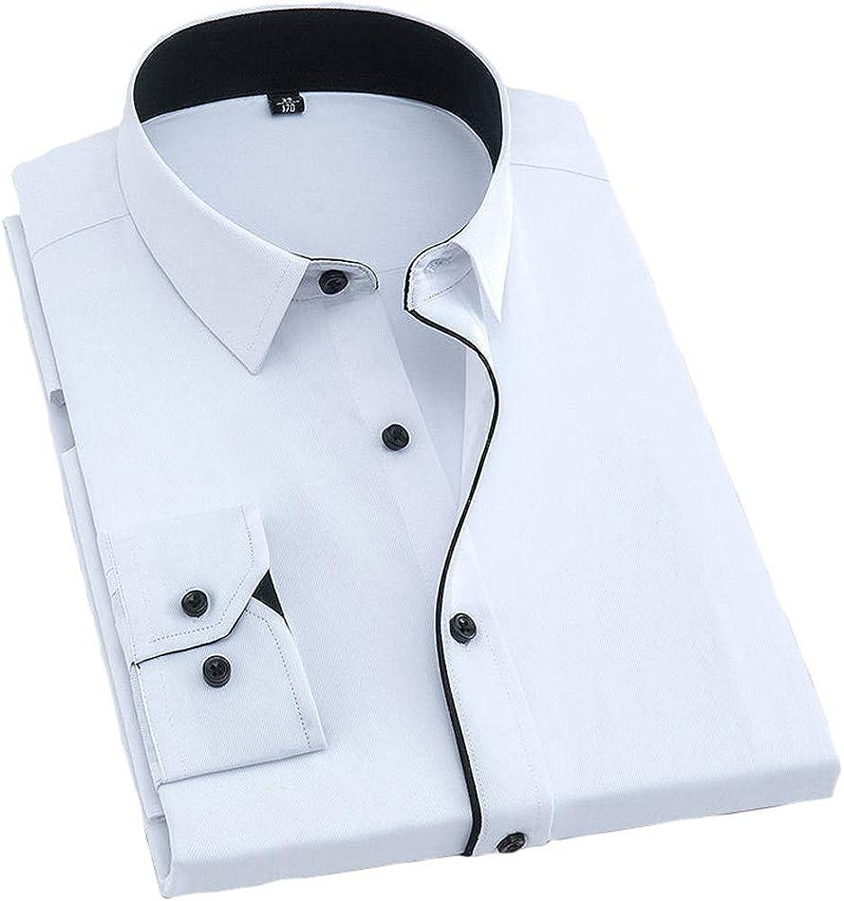 Camisas de Vestir para Hombres Camisa Informal Suelta de Manga Larga, Solapa con Botones completos, Bolsillo a Rayas, Color Liso, Oficina de Negocios, Ocio Diario