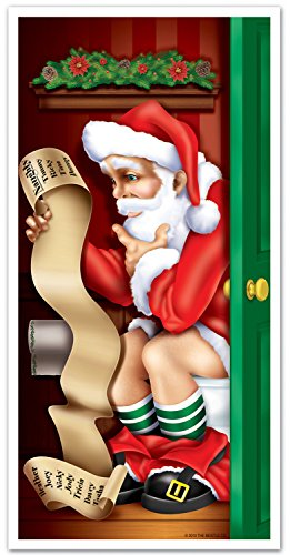 Santa Restroom Door Cover Party Accessory (1 count) (1/Pkg)]()
