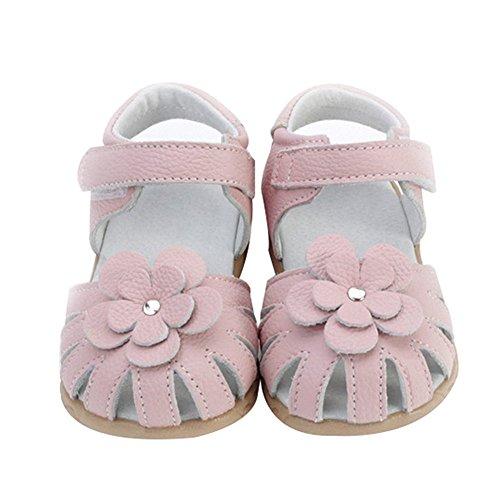 Oderola Mädchen Sommer Sandale mit weichen Sohlen Baby Leder Lauflernschuhe Rosa