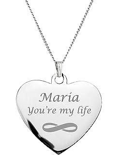 d2a2502a33 Amazon.com : Personalized Silver Heart & Key Necklace Set : Key Tags ...