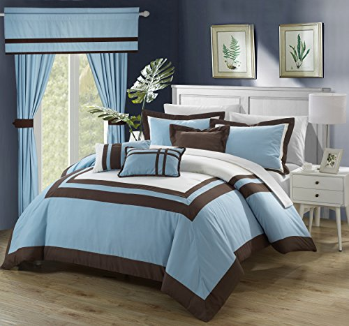 Perfect Home 20 Piece Bernard Pieced Color Blocked Complete Master Bedroom Ensemble Includes Comforter Set, sheet set and window treatments. Queen, Blue (Queen Ensemble Complete Bed)