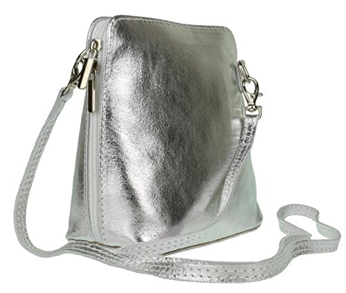 Girly Handbags - Bolso cruzados de Piel para mujer plata