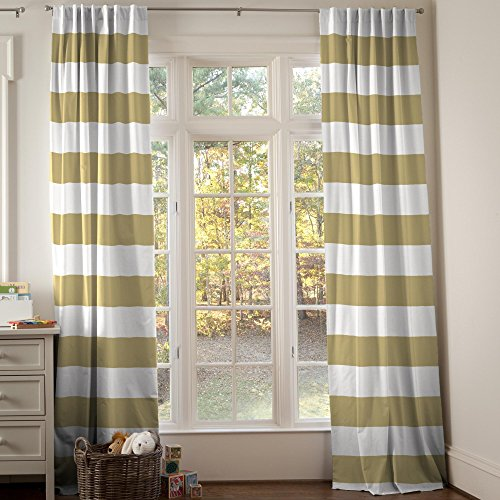 Carousel Designs Tan Horizontal Stripe Drape Panel 96-Inch Length Standard Lining 42-Inch Width by Carousel Designs