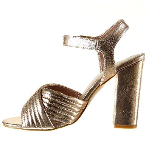 Angkorly - Chaussure Mode Sandale Escarpin ouverte femme lignes finition surpiqûres coutures lanière Talon haut bloc 10.5 CM - Champagne