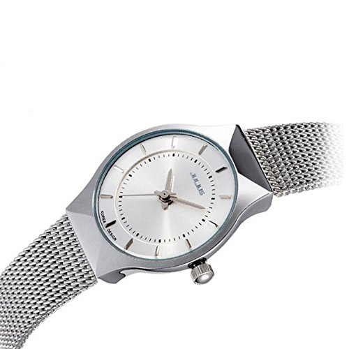 Elegant Womens Watch (JULIUS Women's White Dial Mesh Stainless Ultra Thin Stylish Quartz Watch Fashion Elegant)