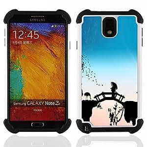 For Samsung Galaxy Note3 N9000 N9008V N9009 - Bridge Fairytale China Flamingos Nature Bird /[Hybrid 3 en 1 Impacto resistente a prueba de golpes de protecci????n] de silicona y pl????stico Def/ - Super M
